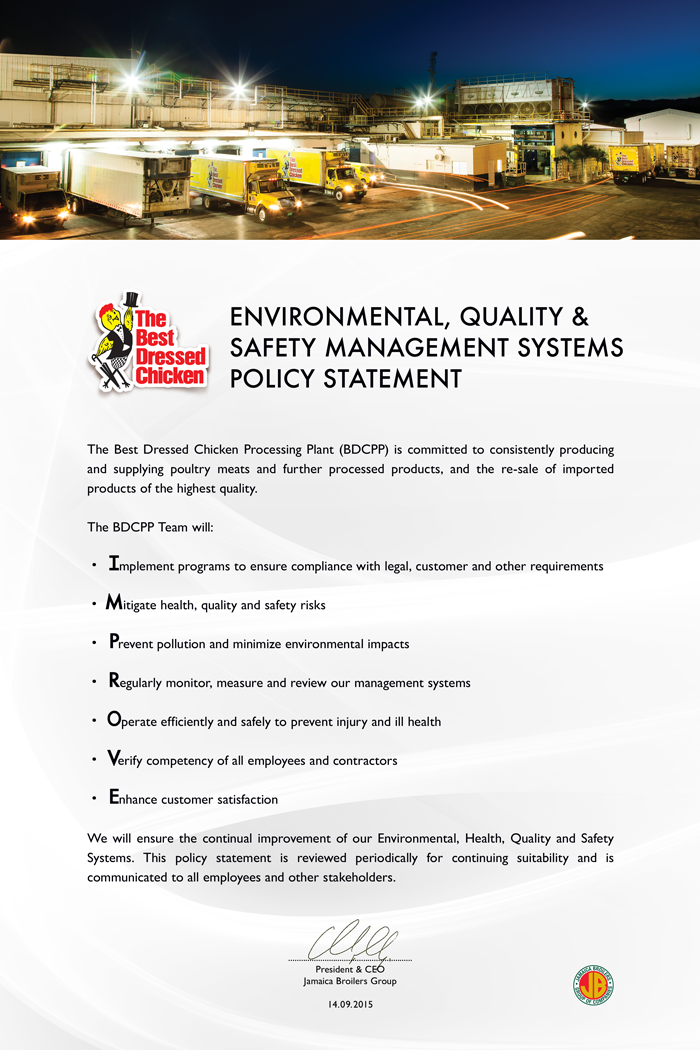 BDC Environmental, Quality & Safety Management Systems Policy Statement